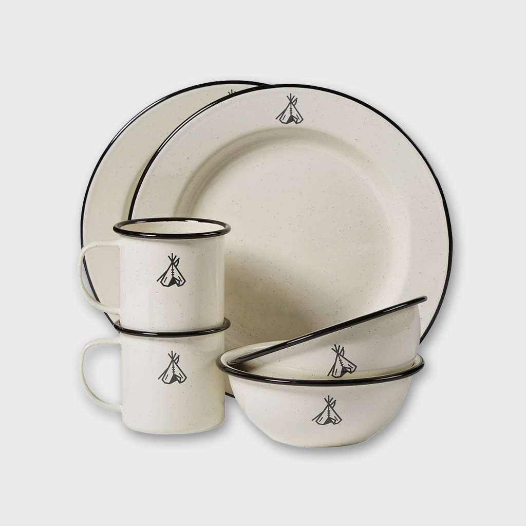 PENDLETON USA Camp Enamelware Set - Ivory / Black