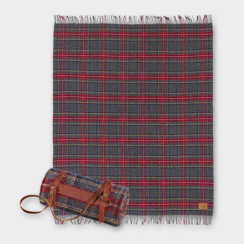Pendleton Carry Along Motor Robe Wool Throw with Carrier - Charcoal Stewart Tartan