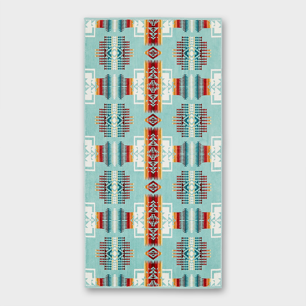 Pendleton Jacquard Bath Towel Chief Joseph - Aqua