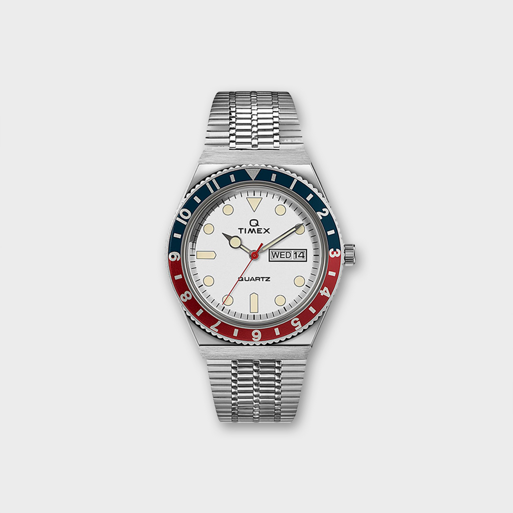 Q Timex Reissue 38mm Stainless Steel Bracelet watch - White / Red / Blue