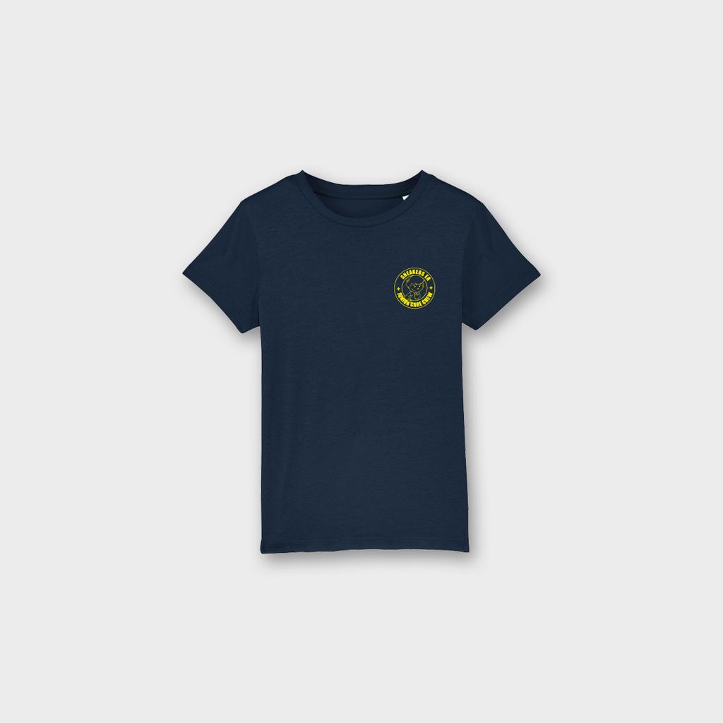 Sneaker Laundry Glasgow Junior Care Crew Boys Organic T-Shirt - Navy / Yellow