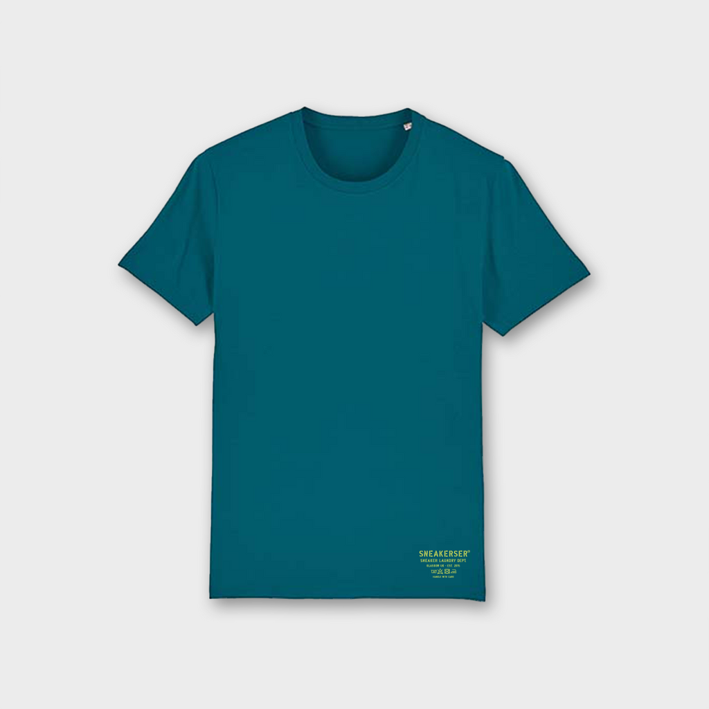 Sneaker Laundry Glasgow Basic Organic T-Shirt - Ocean / Lime