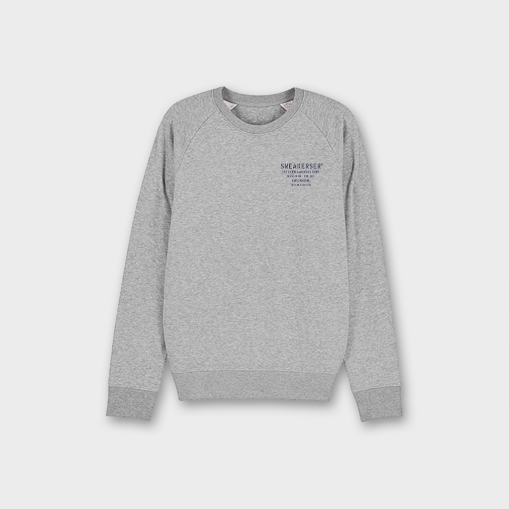 Sneaker Laundry Glasgow Raglan Organic Sweatshirt - Heather Grey / Navy