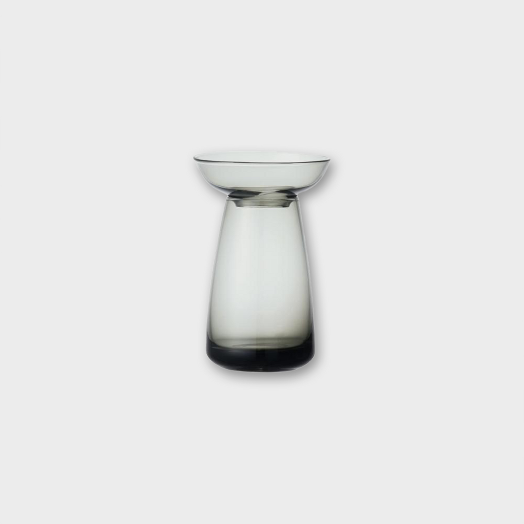 Kinto Japan Aqua Culture Small Glass Flower Vase - Grey 200ml