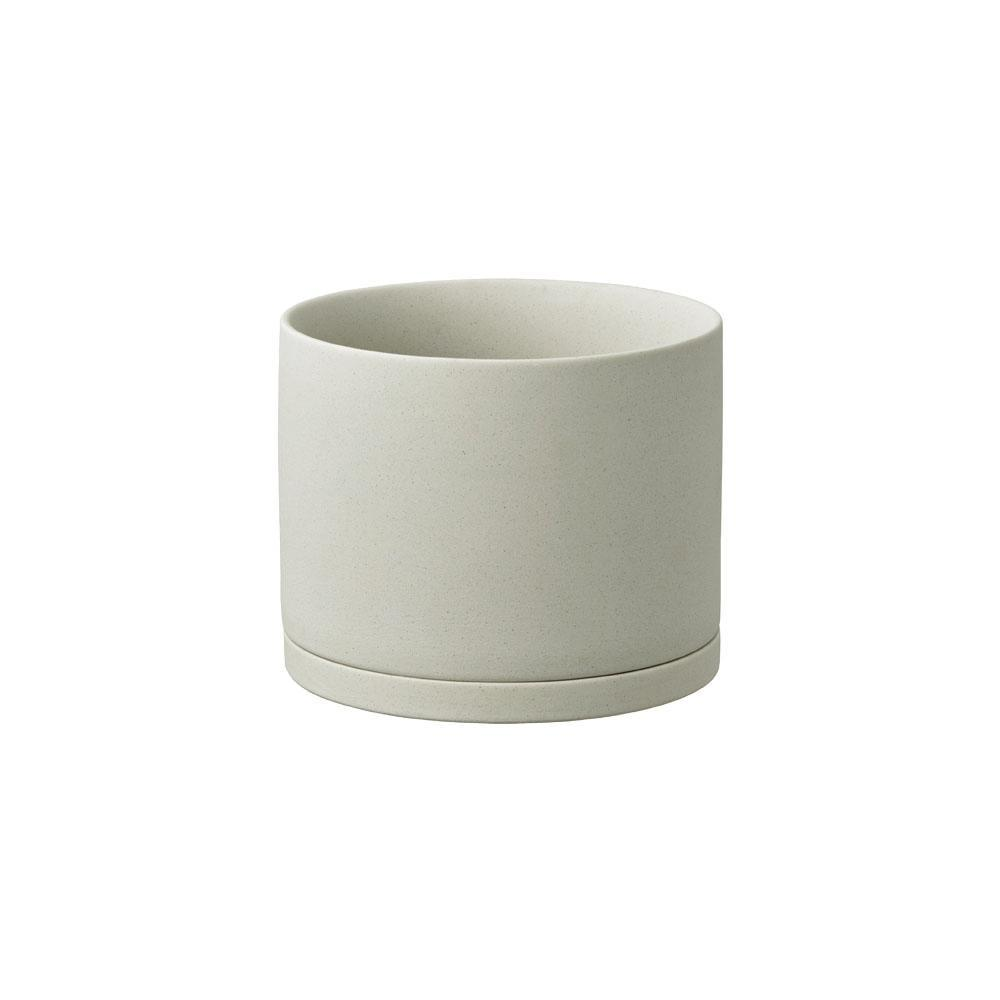 Kinto Japan Size 3 Porcelain Plant Pot & Saucer - Earth Grey 135mm