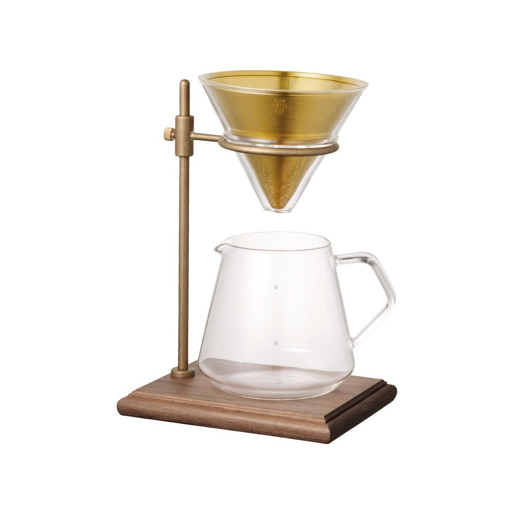 Kinto Japan Coffee Brewer Stand Set 4 Cup - Brass / Stainless / Walnut wood