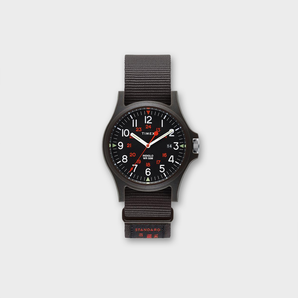 Timex Acadia 40mm Fabric Strap Watch  - Black / White / Red