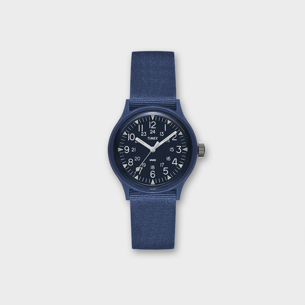 Timex MK1 36mm Fabric Strap Watch  - Navy / White/ Yellow