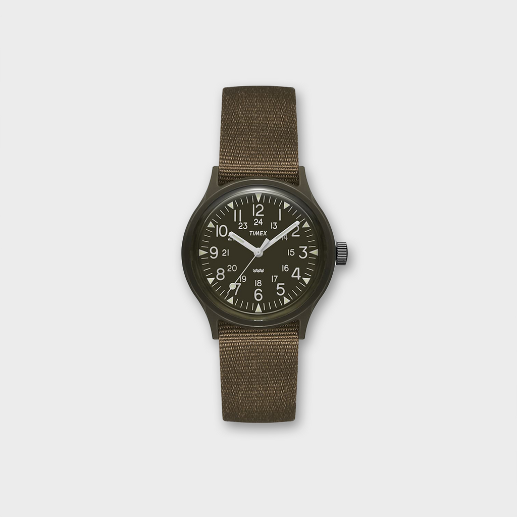 Timex MK1 36mm Fabric Strap Watch  - Olive / Black / White
