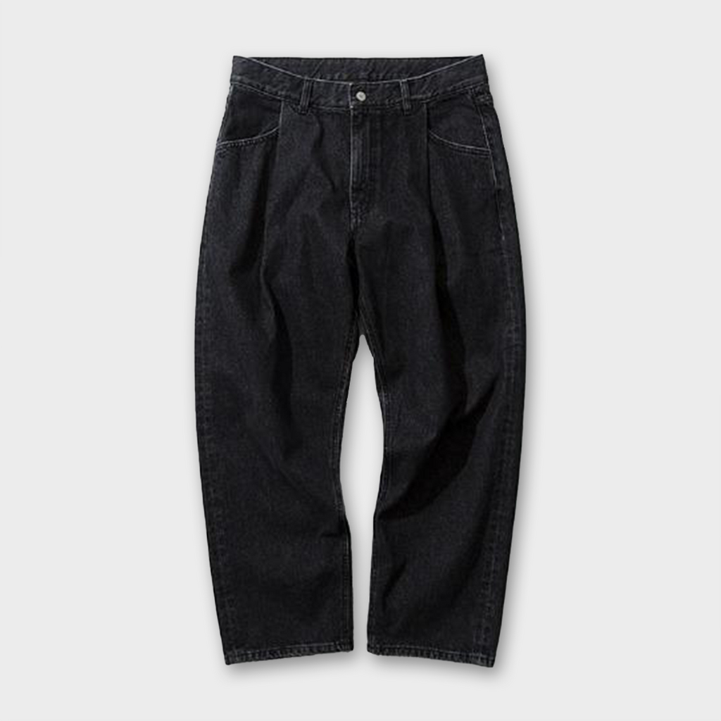 Uniform Bridge One Tuck Crop Denim Pants - Black Washed
