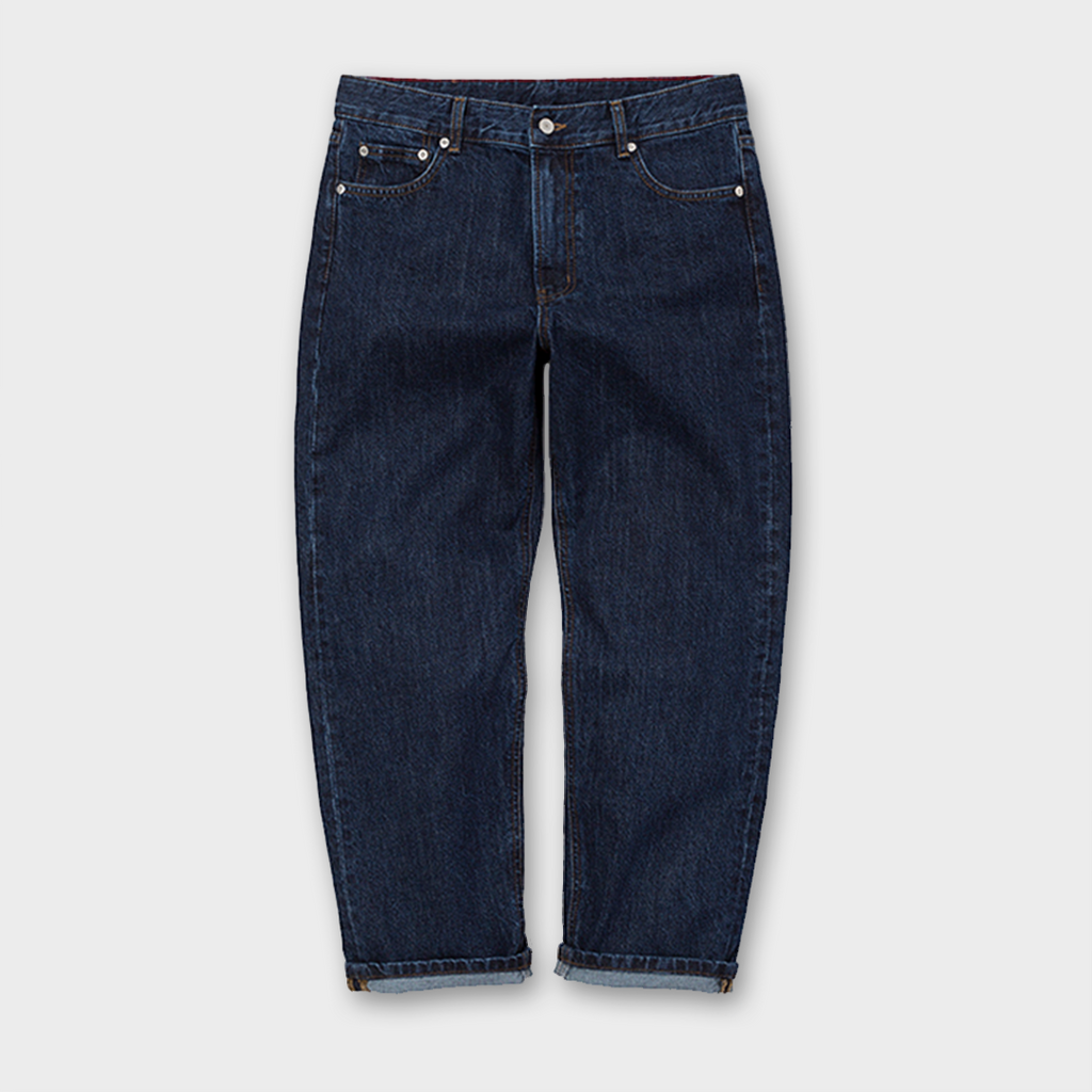 Uniform Bridge Washing Crop Denim Pants - Indigo