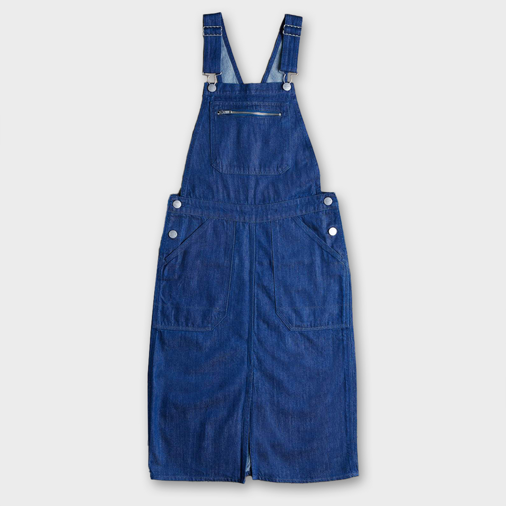 Uskees #2002 Women's Organic Cotton Bib Pinafore Overalls - Rinsed Denim