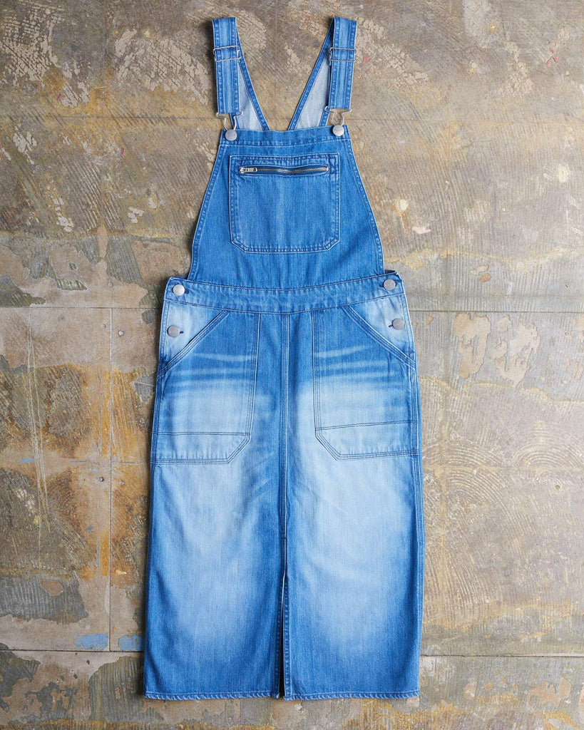 Uskees #2002 Women's Organic Cotton Bib Pinafore Overalls - Washed Denim