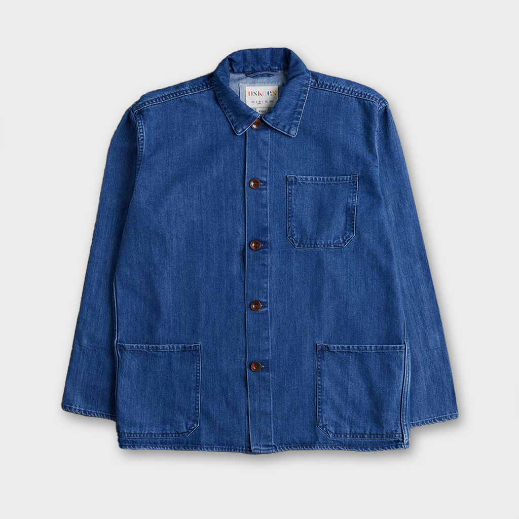 Uskees #3001 Organic Cotton Button Work Overshirt - Washed Denim
