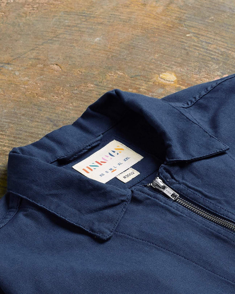 Uskees #3002 Organic Cotton Zip Front Overshirt - Navy