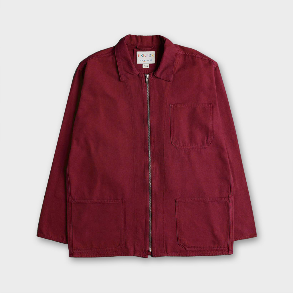 Uskees #3002 Organic Cotton Zip Front Overshirt - Red