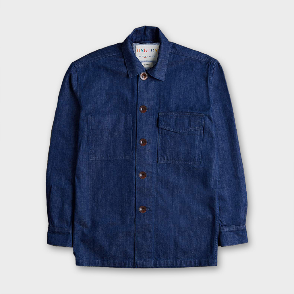 Uskees #3003 Organic Cotton Traditional Work Shirt - Rinsed Denim