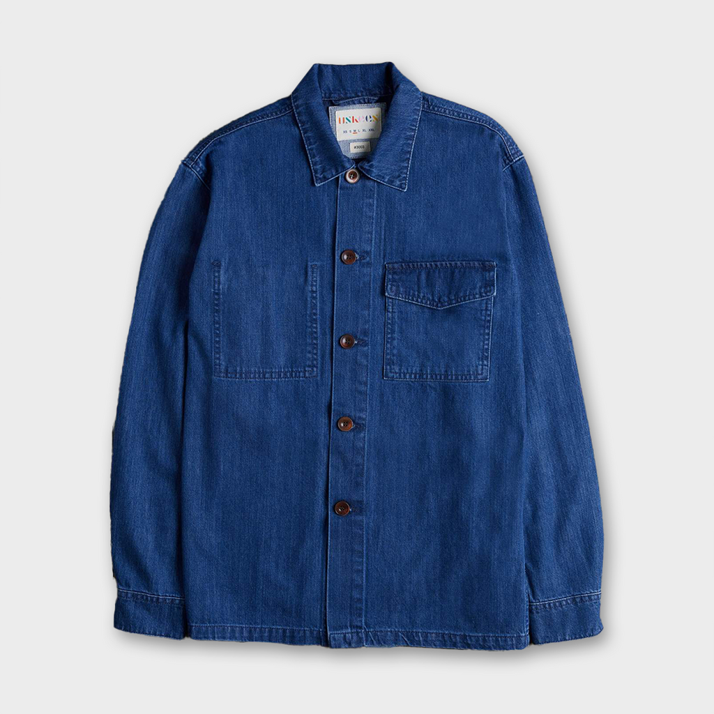 Uskees #3003 Organic Cotton Traditional Work Shirt - Washed Denim