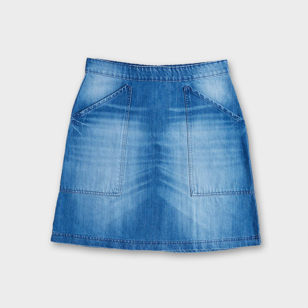 Uskees #8005 Women's Organic Cotton Utility Skirt - Washed Denim