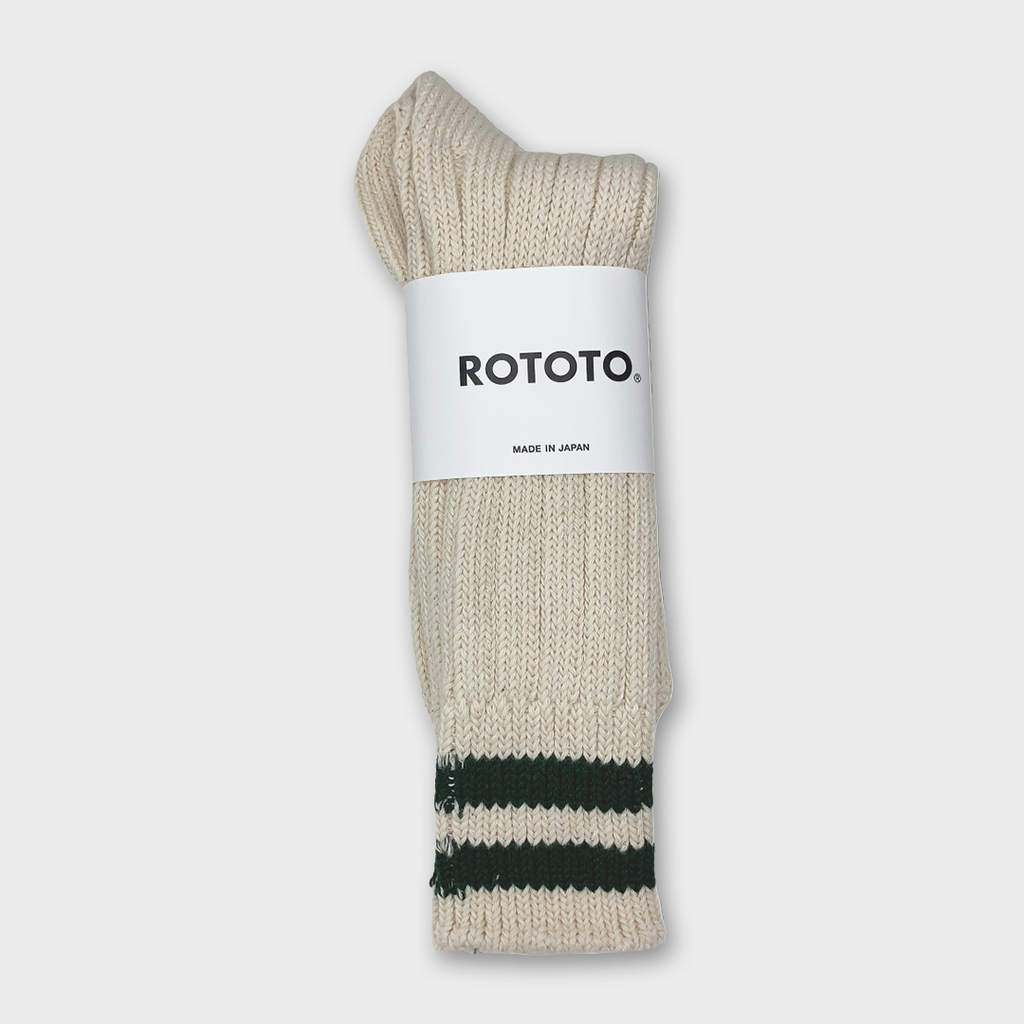 Ro To To Japan Low Raw 2 Stripes Socks - Ecru / Green