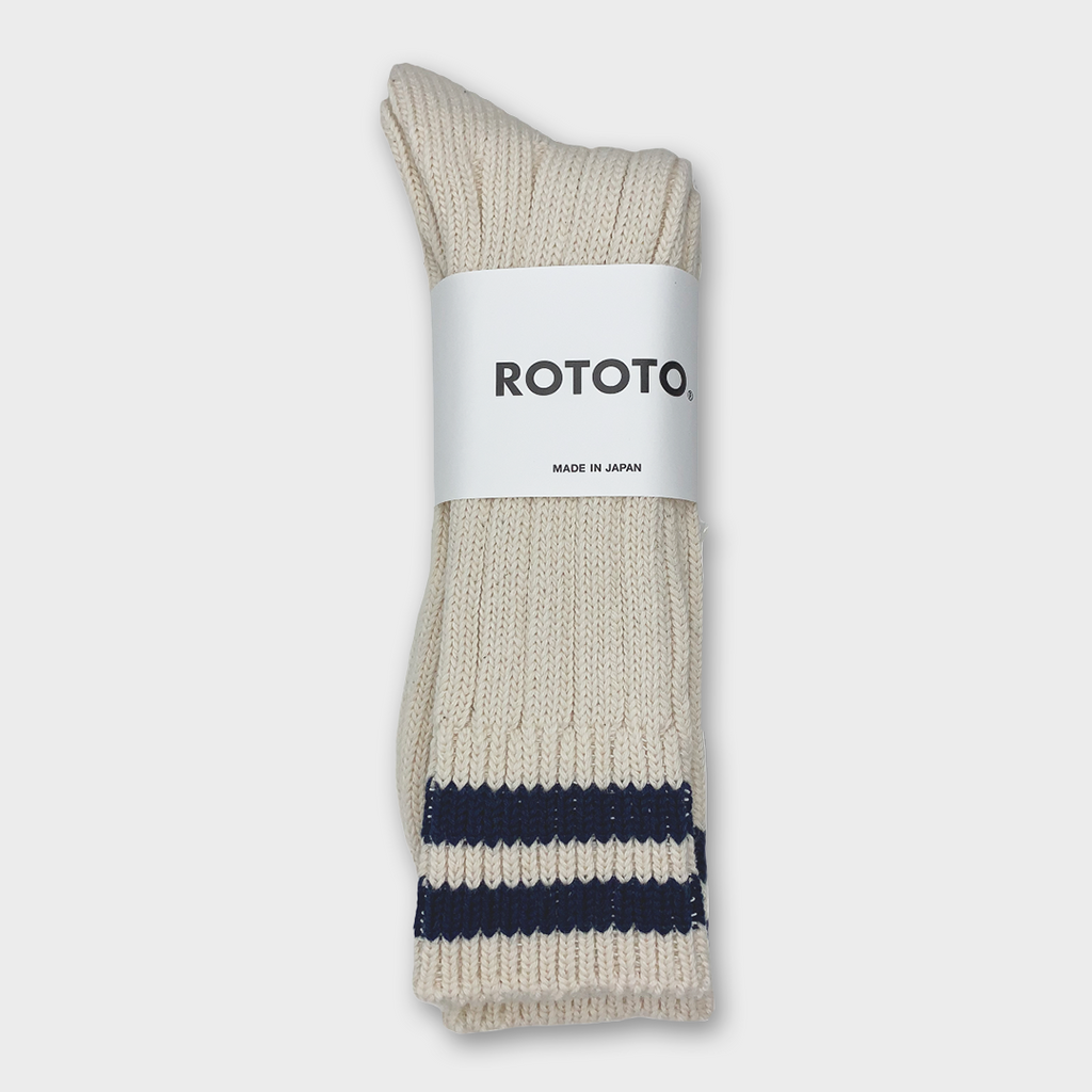 Ro To To Japan Low Raw 2 Stripes Socks - Ecru / Navy