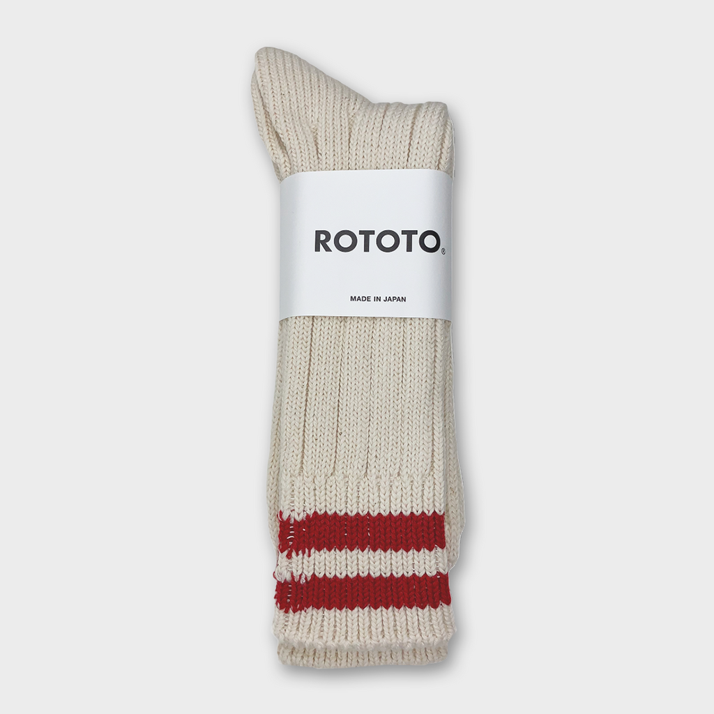 Ro To To Japan Low Raw 2 Stripes Socks - Ecru / Red