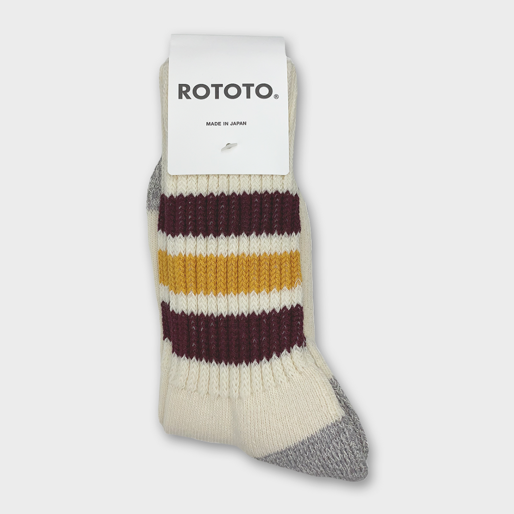 Ro To To Japan Coarse Ribbed Oldschool Crew Socks - Bordeaux / Yellow
