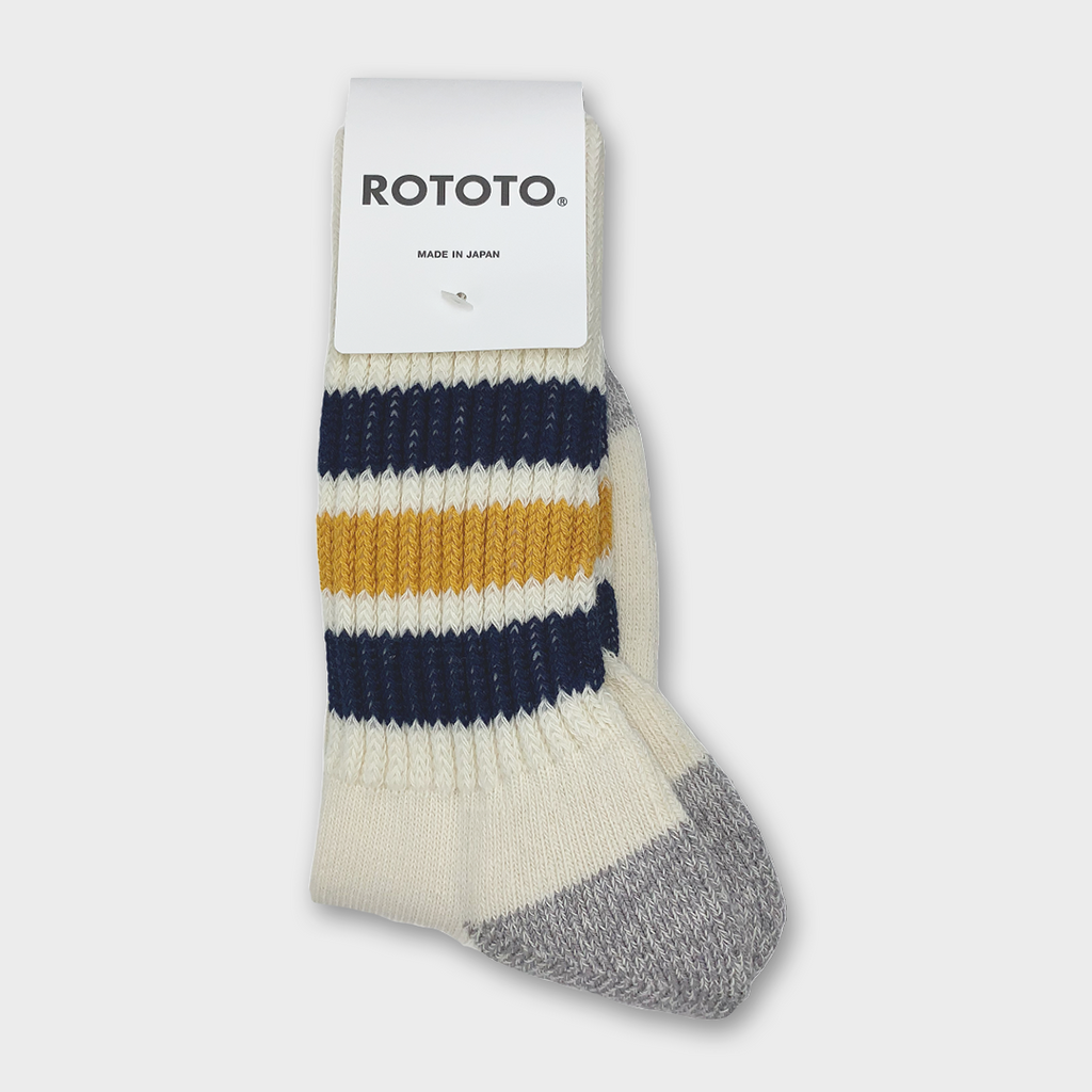 Ro To To Japan Coarse Ribbed Oldschool Crew Socks - Navy / Yellow