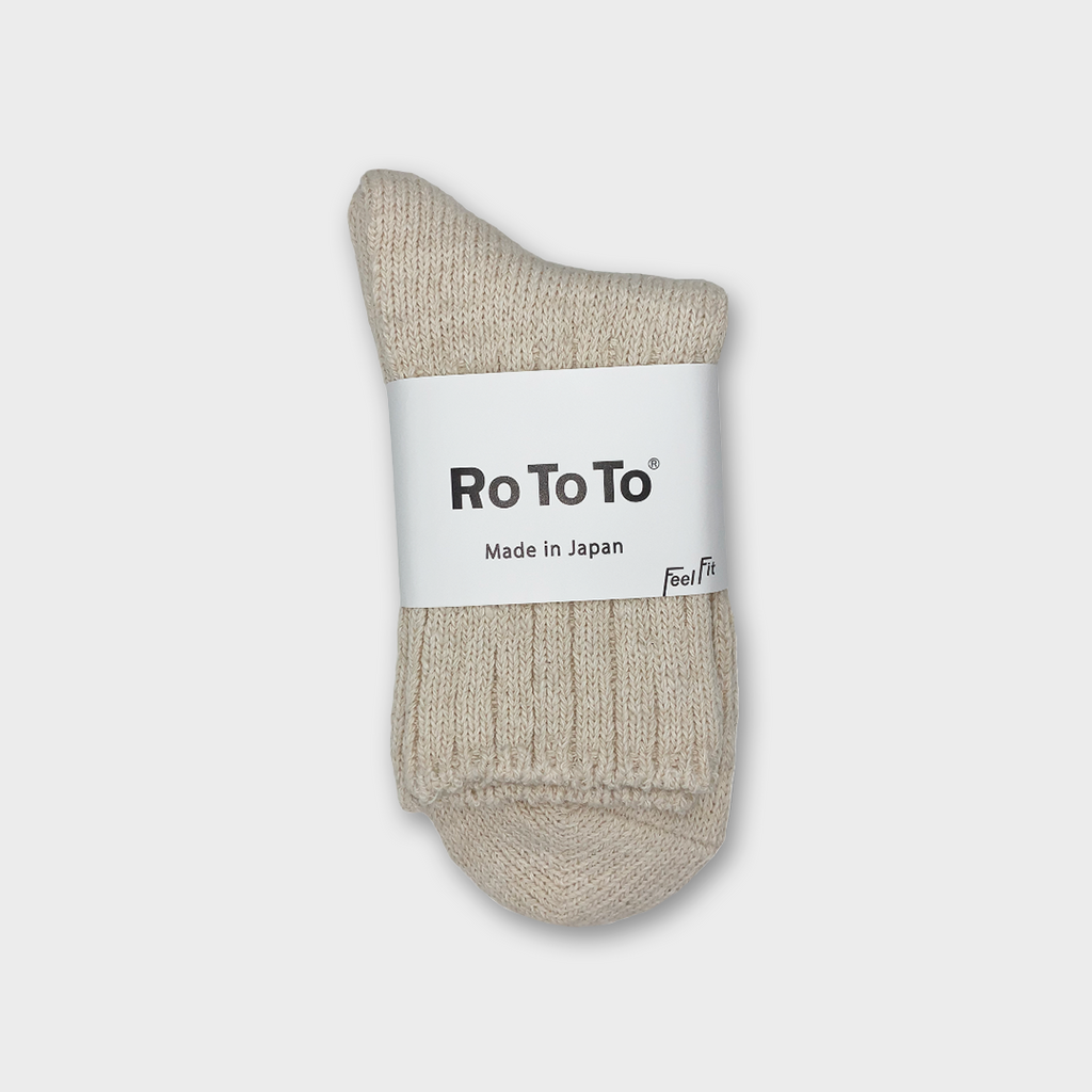 Ro To To Japan Low Gauge Slub Socks - Ecru