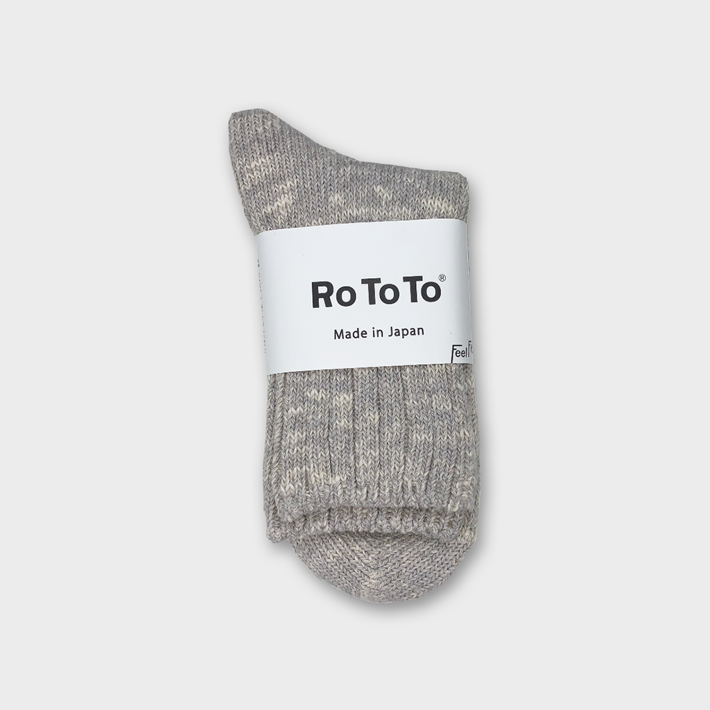 Ro To To Japan Low Gauge Slub Socks - Light Grey