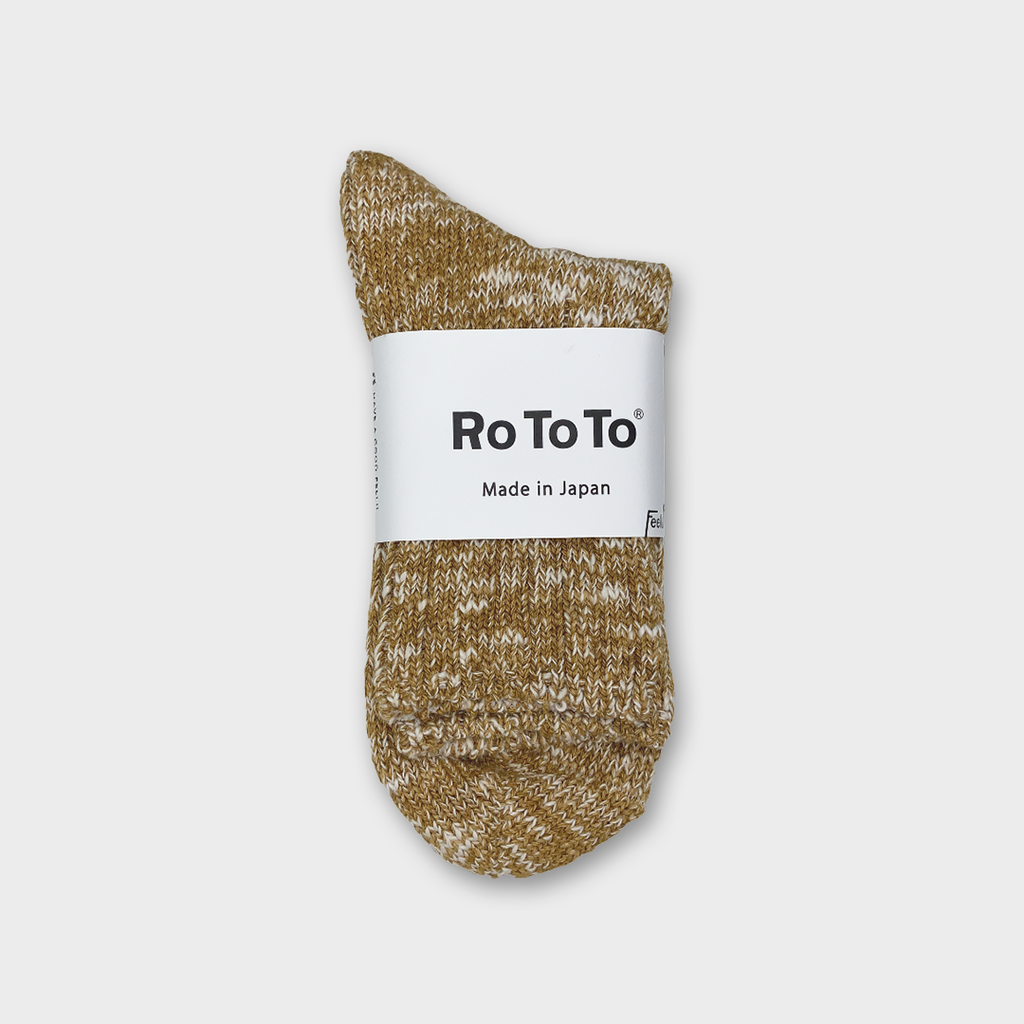 Ro To To Japan Low Gauge Slub Socks - Mustard