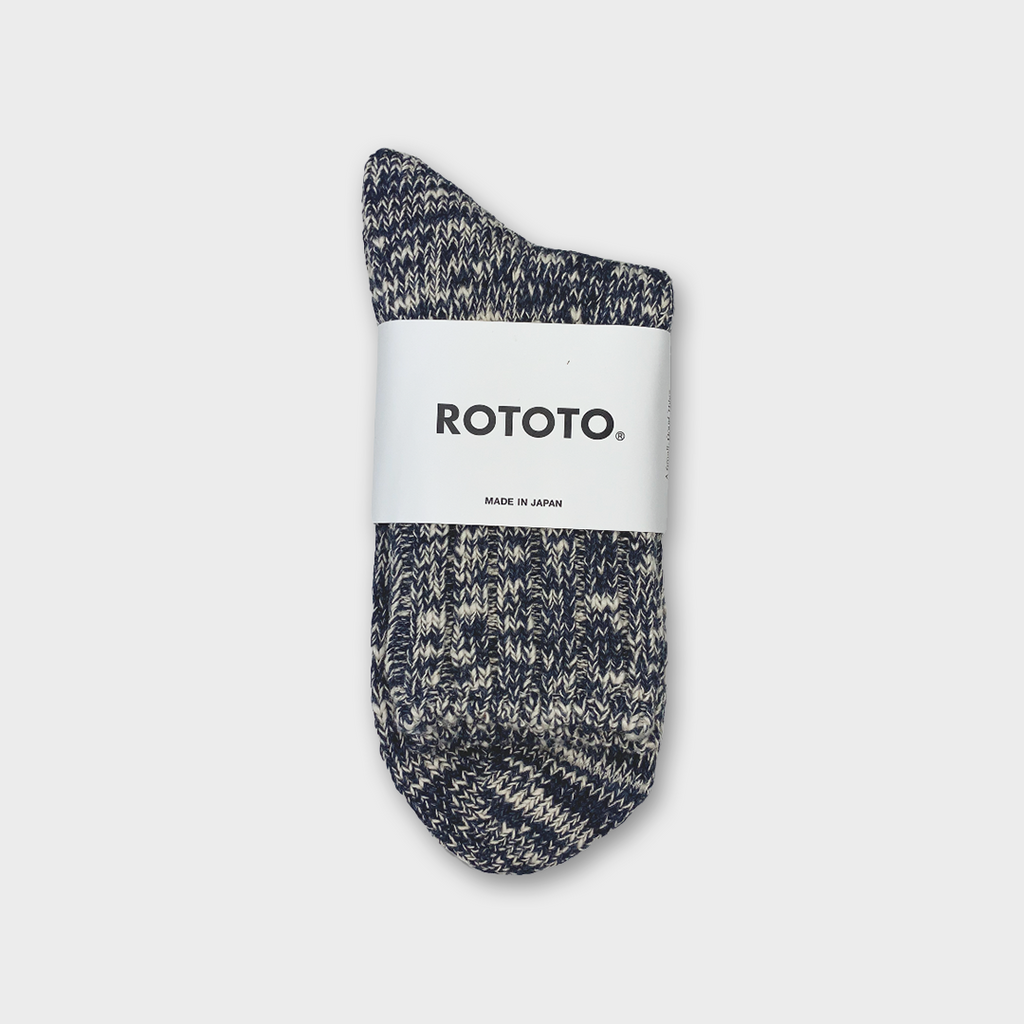 Ro To To Japan Low Gauge Slub Socks - Navy
