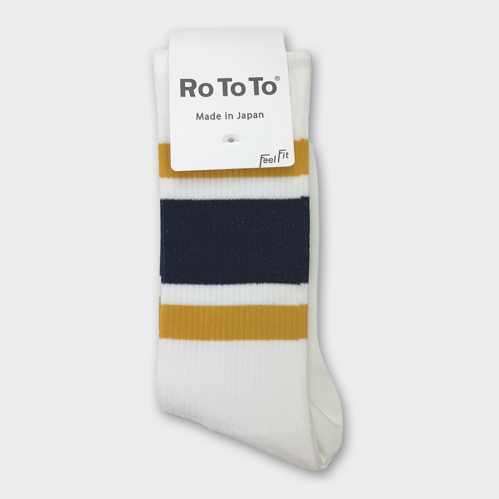 Ro To To Japan Newschool Socks - Dark Yellow / Navy