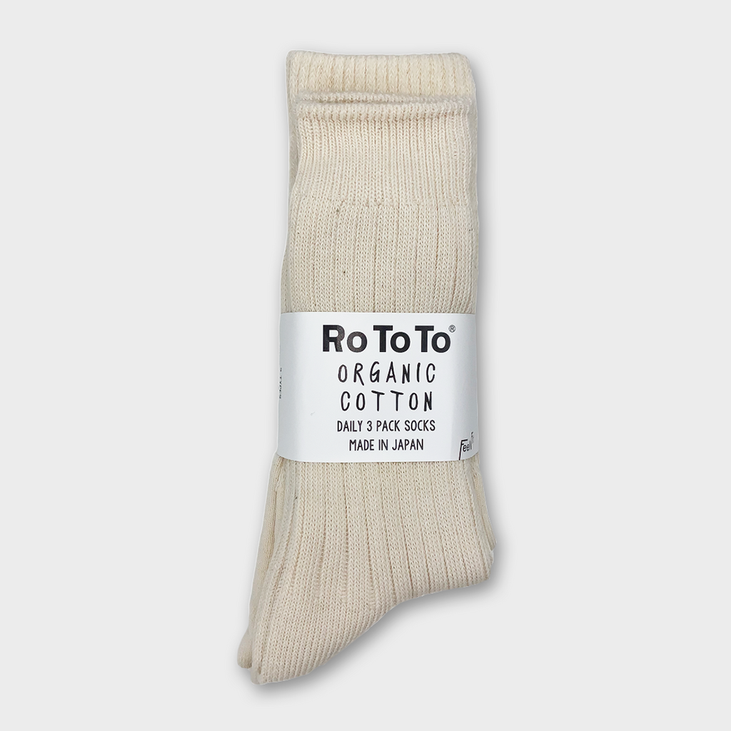Ro To To Japan Organic Cotton Daily 3 Pack - Ecru