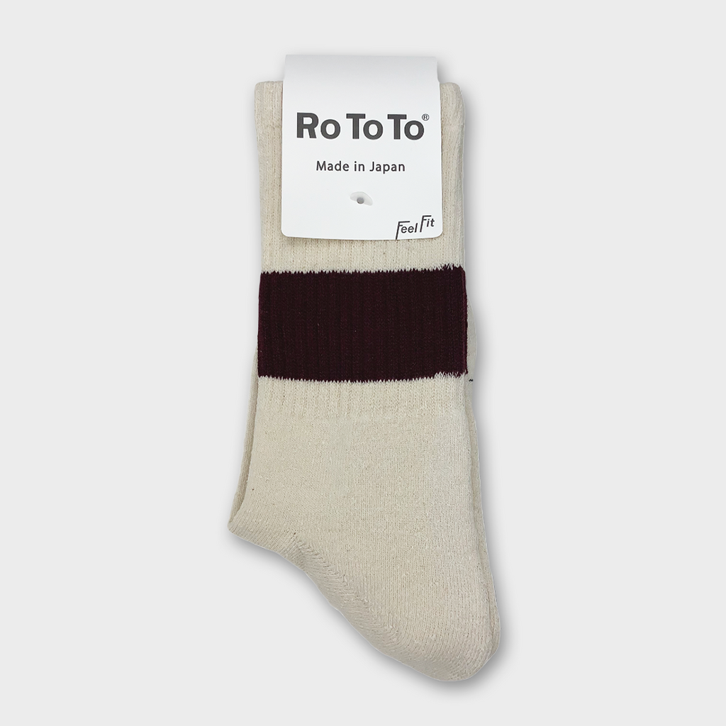 Ro To To Japan Classic silk Cotton Crew Socks - Ivory / Burgundy