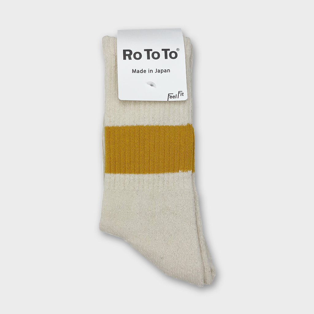 Ro To To Japan Classic silk Cotton Crew Socks - Ivory / Dark Yellow