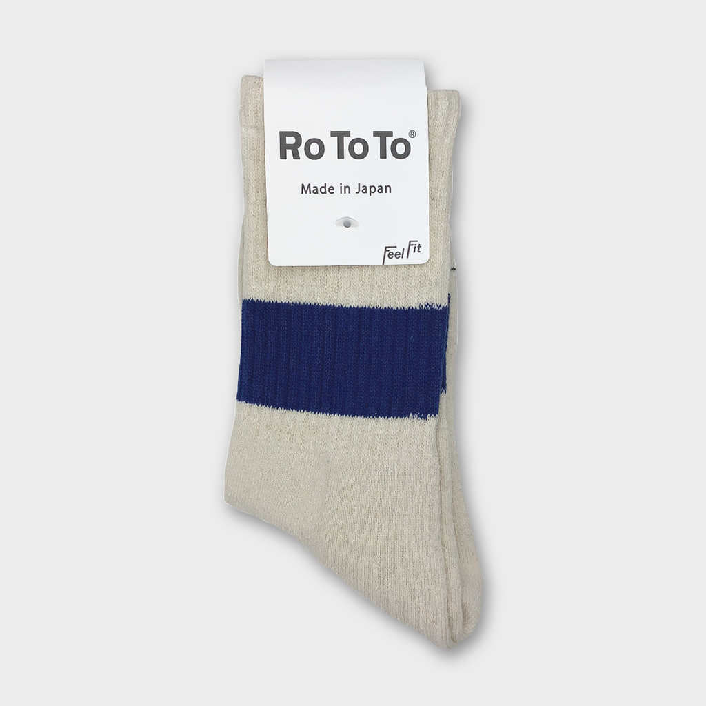 Ro To To Japan Classic silk Cotton Crew Socks - Ivory / Blue