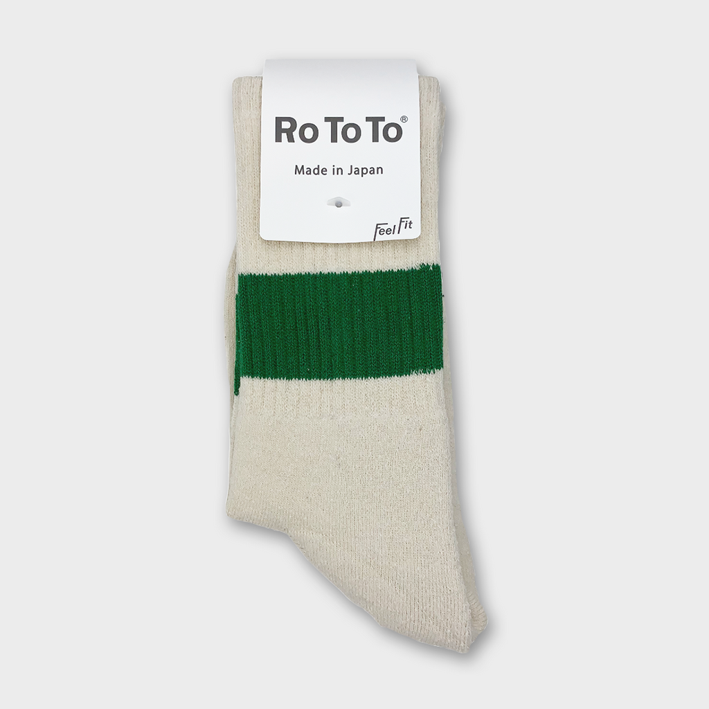 Ro To To Japan Classic silk Cotton Crew Socks - Ivory / Green