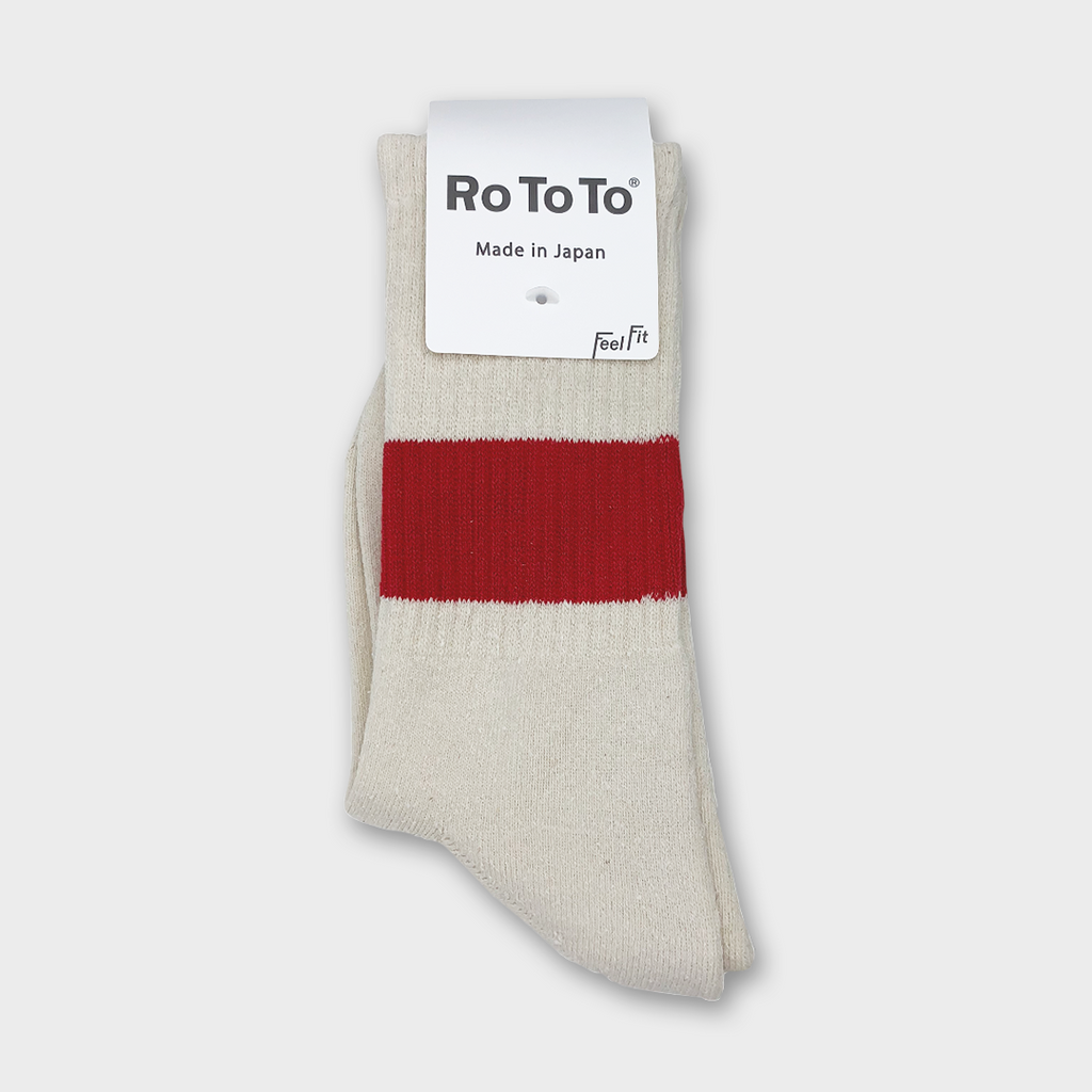 Ro To To Japan Classic silk Cotton Crew Socks - Ivory / Red