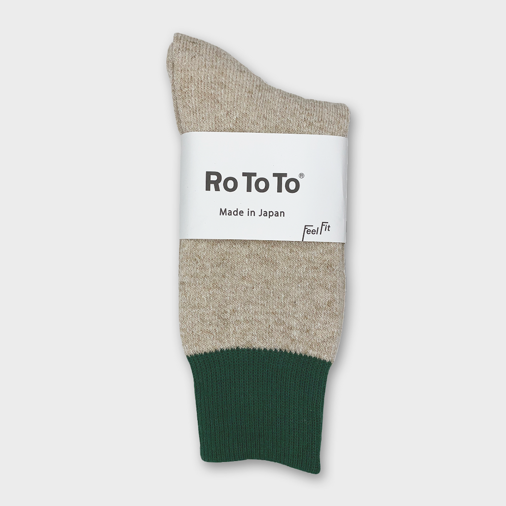 Ro To To Japan Double Face Socks - Green / Medium Beige