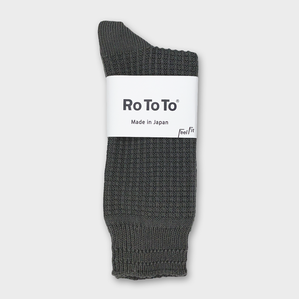 Ro To To Japan Cotton Waffle Socks - Charcoal