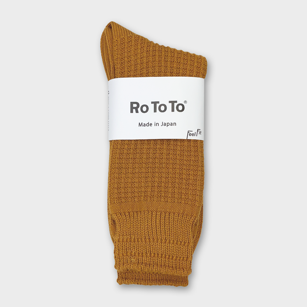 Ro To To Japan Cotton Waffle Socks - Dark Yellow