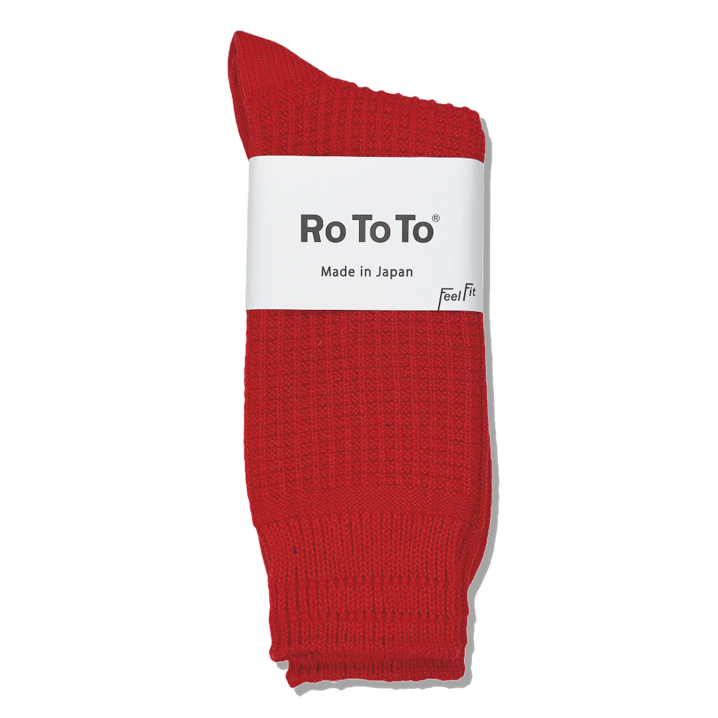 Ro To To Japan Cotton Waffle Socks - French Red