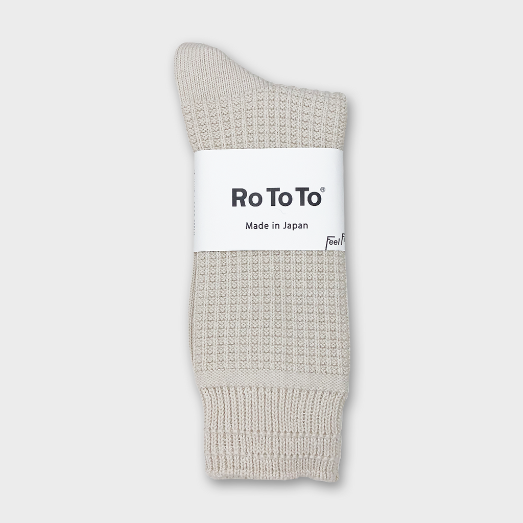 Ro To To Japan Cotton Waffle Socks - Ivory