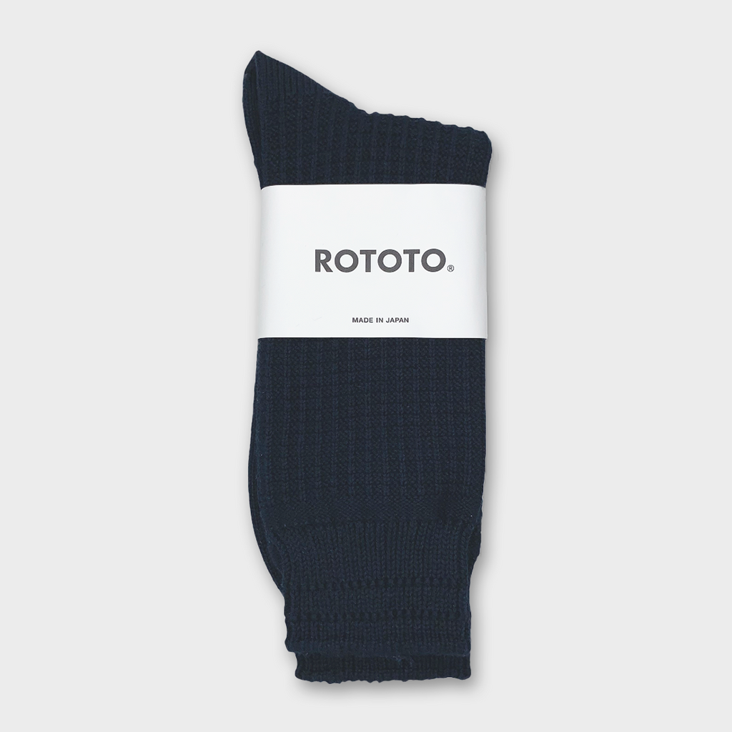 Ro To To Japan Cotton Waffle Socks - Navy