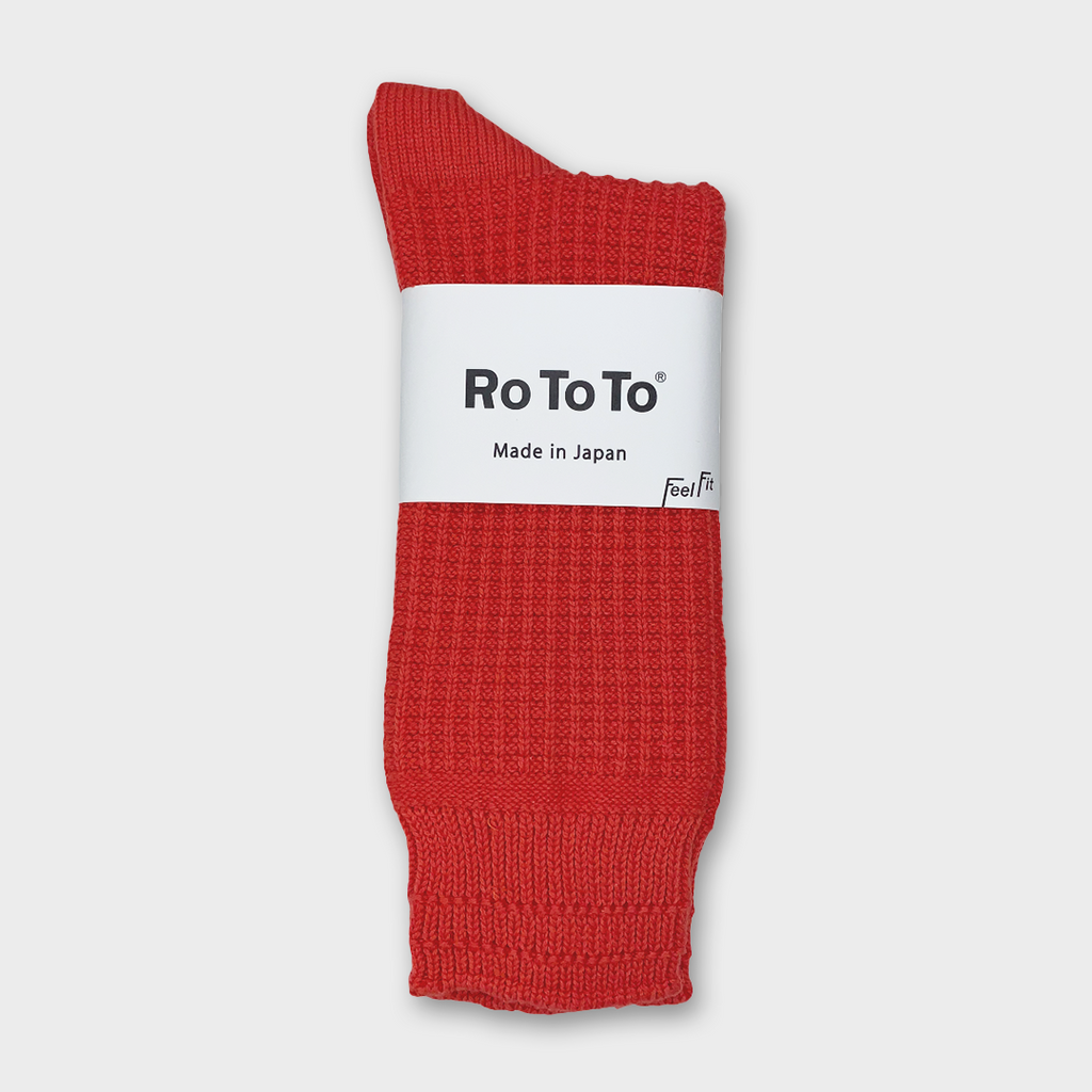 Ro To To Japan Cotton Waffle Socks - Poppy Red
