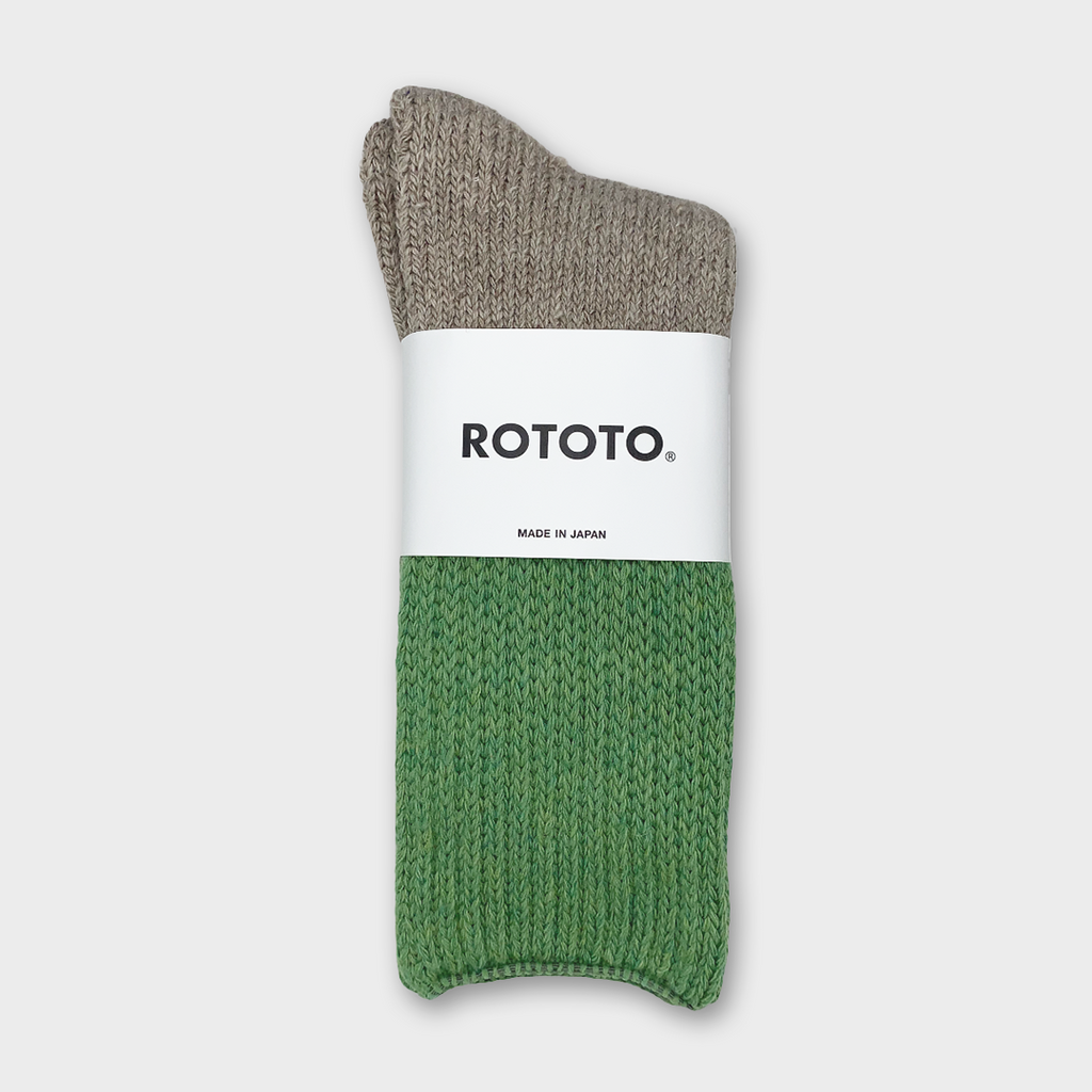 Ro To To Japan Teasel Socks - Light Green / Dark Beige