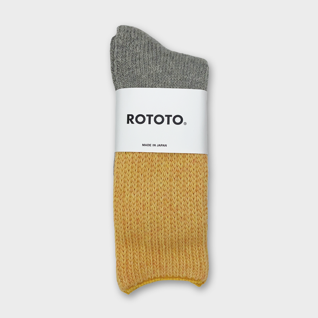 Ro To To Japan Teasel Socks - Yellow / Light Grey