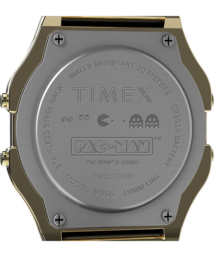 Timex X Pac Man 34mm Stainless Steel Bracelet Watch - Gold