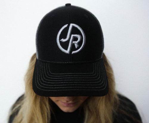 Black/Charcoal Embroidery JR Logo Hat